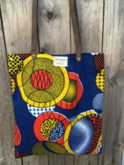 Tote Bag wax africain bleu, jaune, orange