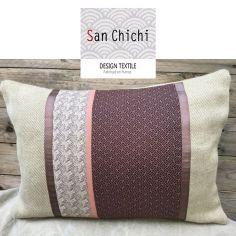 Coussin & housse design de créateur, en laine, lin et coton   fait